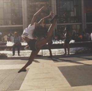 Leaping through Lincoln Center...I love NYC!
